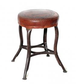 Taburet din lemn masiv si piele  Taburet BURDEAUX din fier forjat si piele de camila