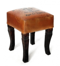 Mobilier VERRIER leather stool