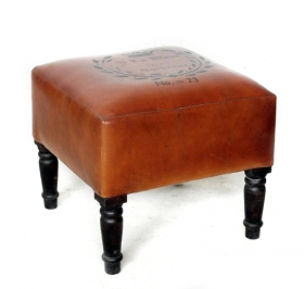 Taburet PROVENCE din textil  No.23 Stool solid wood shesham and camel leather