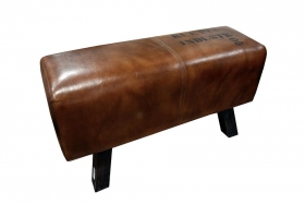 Taburet din lemn masiv si piele  Taburet Industr 05 din lemn masiv shesham si piele de camila