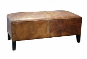 Taburet din lemn masiv si piele  Taburet - Banca  Industr 05 din lemn masiv shesham si piele de camila