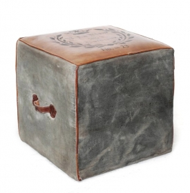Camera de zi Stool, textil and leather