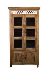 Dulap din lemn masiv - PW16-S4 Dulap TAIZEEN din lemn masiv cu vitrina