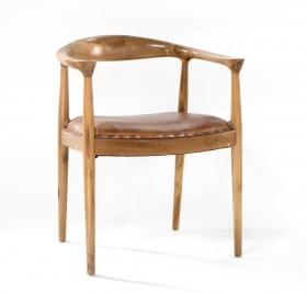 Scaun CHANDAN din lemn masiv  Scaun din piele LOSARI