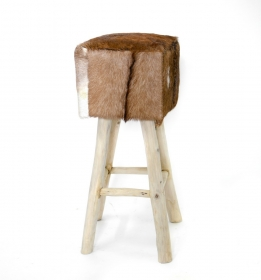 Scaun de bar din lemn si piele  Stool, wood and leather