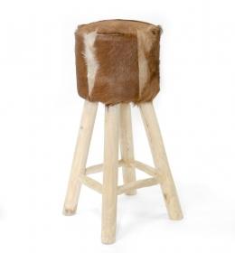 Scaun din lemn masiv Scaun de bar din lemn si piele