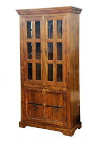 Dulap din lemn masiv - PW16-S4 Dulap JAIDEV din lemn cu vitrina