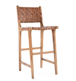 Scaun de bar din lemn masiv Chair Bar MUNTILAN wood and leather