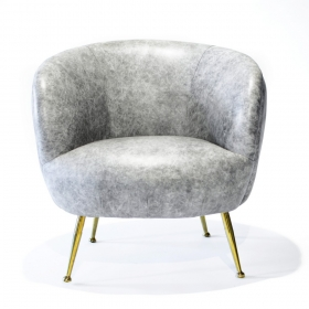 Fotoliu textil LUCRETIA  CONCH leather Armchair