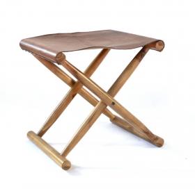 Taburet din lemn masiv si piele  Taburet pliabil din piele KRS -1820-SOPENG