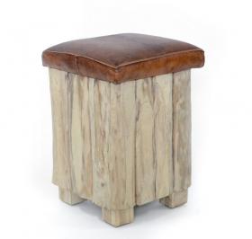 Camera de zi Taburet din lemn - piele