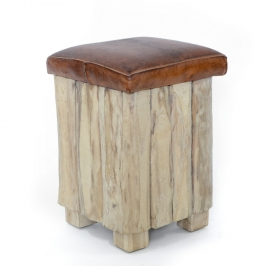 Taburet din lemn masiv si piele  Taburet din lemn - piele