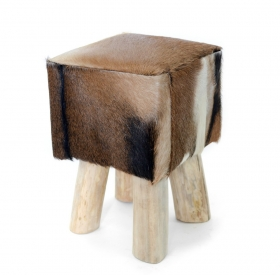 Taburet pliabil din piele SOPENG Stool masiv wood and leather