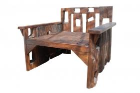 Fotoliu pentru gradina din impletitura rattan - COIF Fotoliu SISAKET din lemn