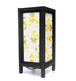 Lampa electrica din lemn cu abajur textil - L01 Veioza traditionala Thai  GOLDEN YELLOW