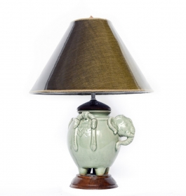 Lampa electrica din lemn cu impletitura din fibra vegetala- L-04 Veioza electrica Thai din ceramica - T16-PL10L