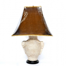 Lampa electrica din lemn cu impletitura din fibra vegetala- L-04 Veioza electrica Thai din ceramica - T16-PL18L-2