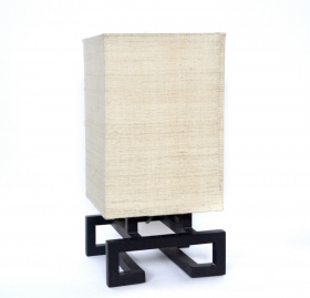Veioze Wood lamp with textile shade - L01
