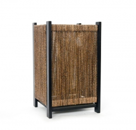 Corpuri de iluminat Wooden lamp with fiber vegetal woven - L05