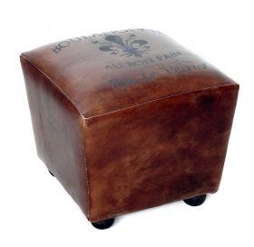 Taburet din lemn masiv si piele  Taburet piele BOULANGERIE