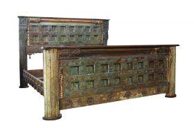 Dormitor Pat sculptat din lemn masiv de teak, Antique