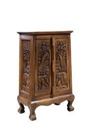 Dulap SAGUN din lemn masiv, 2 usi, 2 sertare Dulap din lemn sculptat