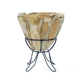 Decoratiuni & Cadouri Wood bowl with metal support