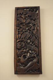 Panou decorativ MEHADI pictat  Panou din lemn masiv sculptat, Pauni