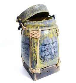 Cutie depozitare sticle de vin, pictata cu motive florale Thai traditional painted cart - T16-A1COS-2