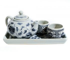 Dop sticla, ceramica pictata  Ceramic tea set