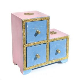 Cutie depozitare sticle de vin, pictata cu motive florale Painted wooden cabinet with 3 drawers - GPT18-GE854-1