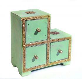 Cutie decorativa - T16-M7CUT Dulapior din lemn pictat, 3 sertare - GPT18-GE854-2