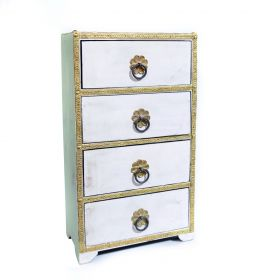 Dulapior pictat, 2 sertare ceramica - GPT18-GE857-2 Painted wooden cabinet with 4 drawers - GPT18-GE869-2