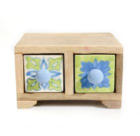 Cutie depozitare sticle de vin, pictata cu motive florale Painted cabinet with 2 ceramic drawers - GPT18-GE857-2