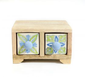 Cutie depozitare sticle de vin, pictata cu motive florale Painted cabinet with 2 ceramic drawers - GPT18-GE857-5
