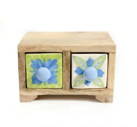 Cutie depozitare sticle de vin, pictata cu motive florale Painted cabinet with 2 ceramic drawers - GPT18-GE857-6