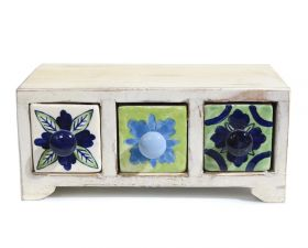 Bol din ceramica - Broscuta Painted cabinet with 3 ceramic drawers - GPT18-GE859-2