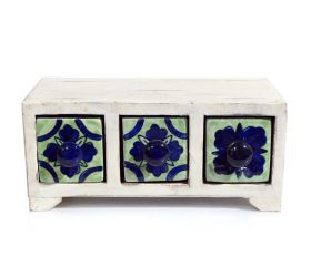 Cutie depozitare sticle de vin, pictata cu motive florale Painted cabinet with 3 ceramic drawers - GPT18-GE859-3