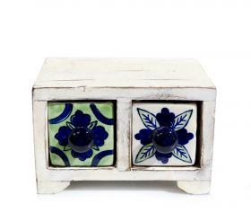Bol din ceramica - Broscuta Painted cabinet with 2 ceramic drawers - GPT18-GE858-3