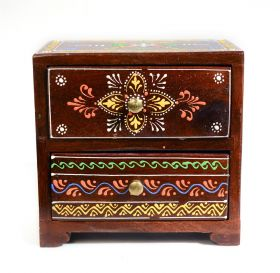Dulapior din lemn pictat, 1 sertar - GPT18-GE867 Painted wooden cabinet with 2 drawers - GPT18-GE841