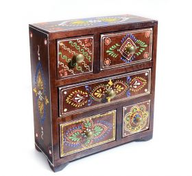 Cutie depozitare sticle de vin, pictata cu motive florale Painted wooden cabinet with 5 drawers - GPT18-GE848