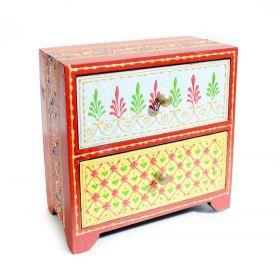 Dulapior pictat, 2 sertare ceramica - GPT18-GE858-1 Dulapior din lemn pictat, 2 sertare - GPT18-GE868