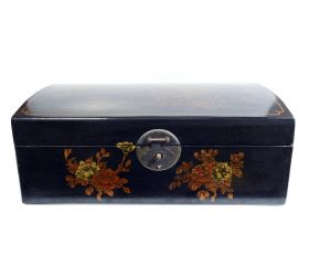Dulapior din lemn pictat, 1 sertar - GPT18-GE867 Cutie depozitare sticle de vin, pictata cu motive florale