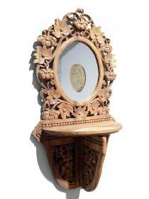 Rama sculptata din lemn masiv, finisaj antichizat Rama oglinda Thai sculptata, cu suport