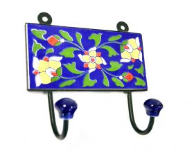 Cuier din lemn masiv Wall hanger, painted ceramic