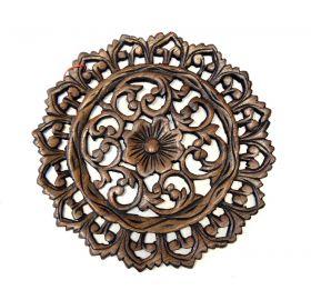 Panou decorativ din lemn pe suport Panou din lemn sculptat cu motive florale