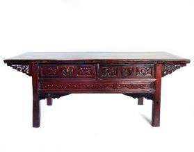 Masa cafea sculptata, lemn masiv Masuta Qing, piesa de colectie