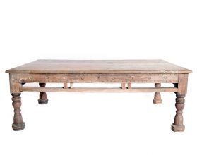 Masuta  TASYA-A din lemn de tec si metal  Masa cafea sculptata, lemn masiv