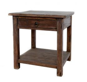 Consola din lemn, imbracata in piele  Solid wood and table