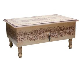 Mobilier Indian painted coffee table, with one drawer